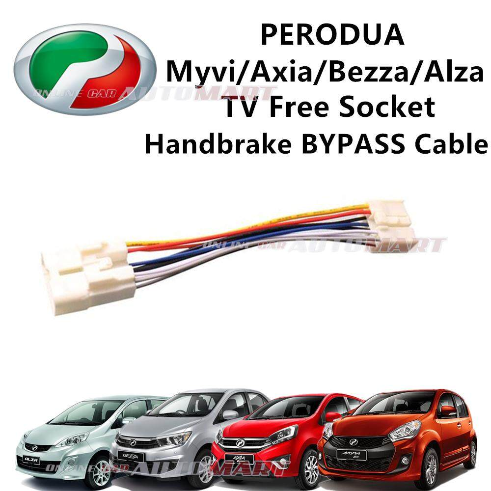Perodua Axia/Alza/Bezza/Myvi Plug n Play handbrake ByPass Car DVD Video While Driving In Motion (TV Free Socket)