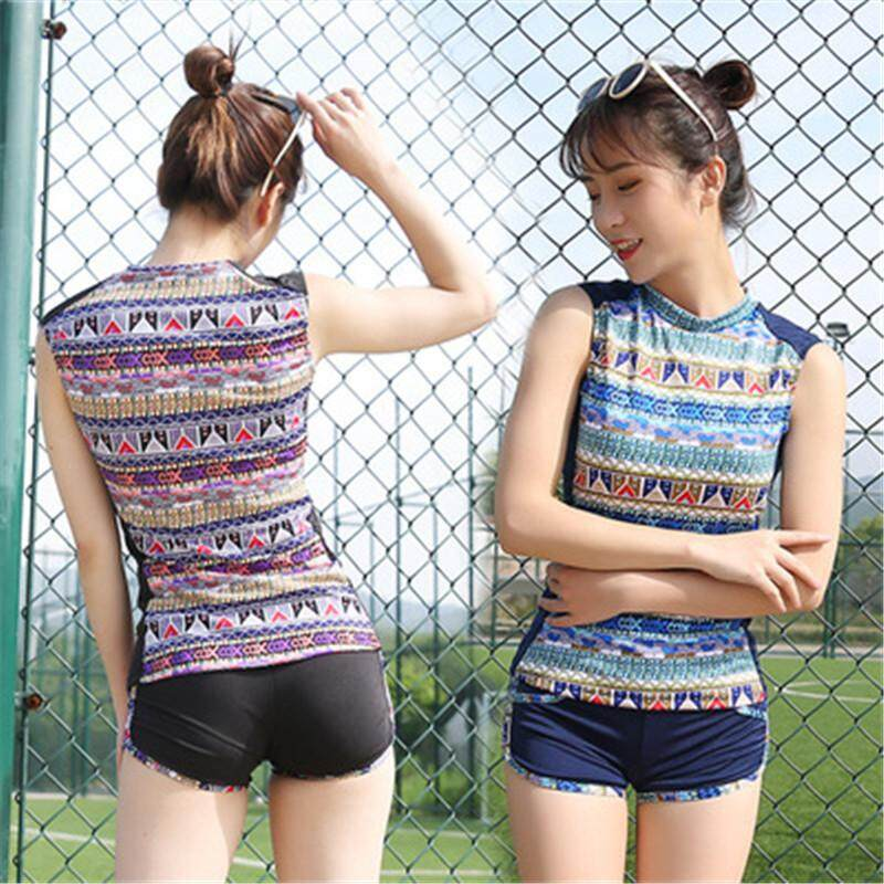 Fashion Muslim Swimwear 2pieces Conservative Swimming Suit T-Shirt+shorts - Intl By Gebistore.