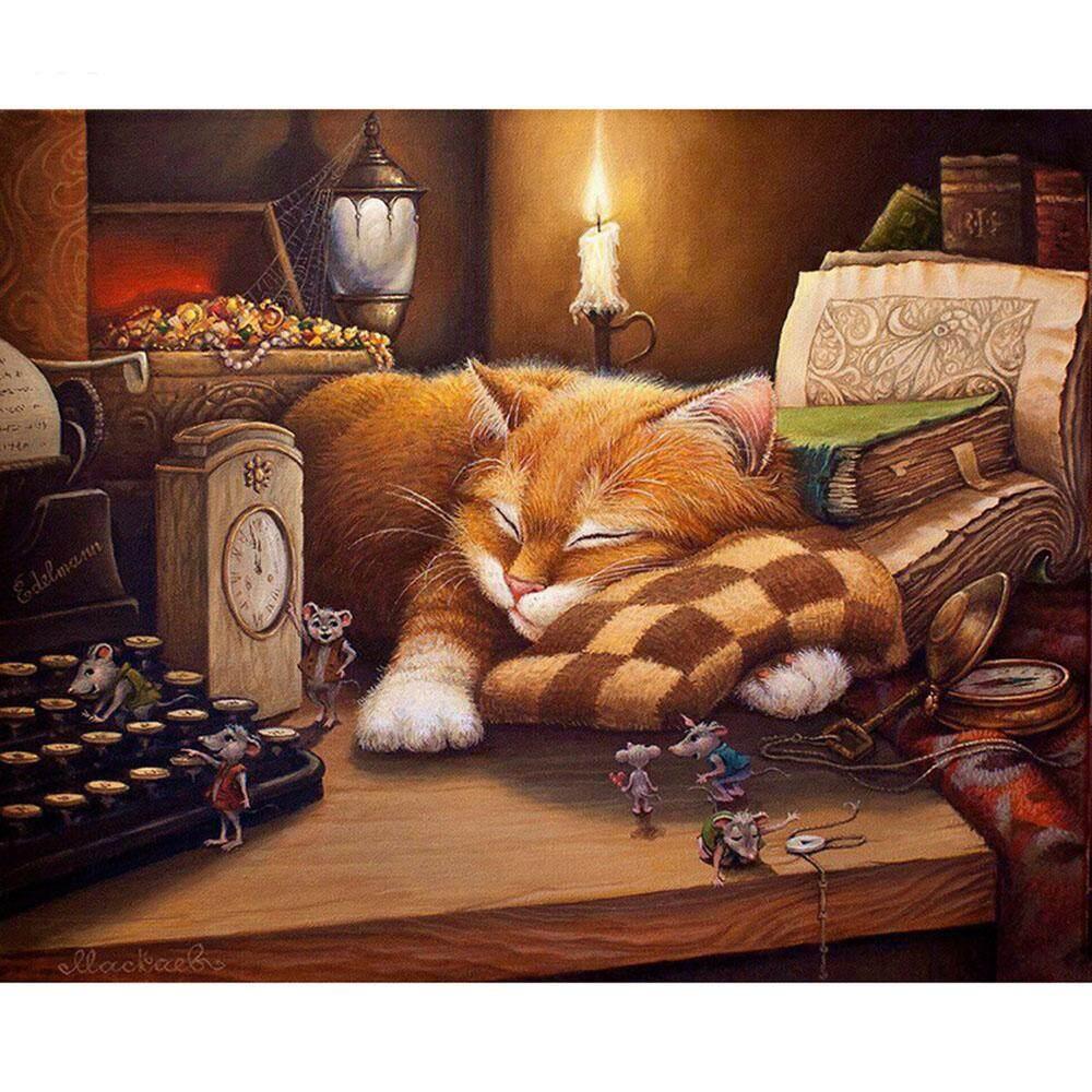 Mua Whyus-Mèo Ngủ Hình Chữ Nhật Unframed Vẽ Tay Bởi Số Lượng Dầu Tranh Trang Trí Nhà