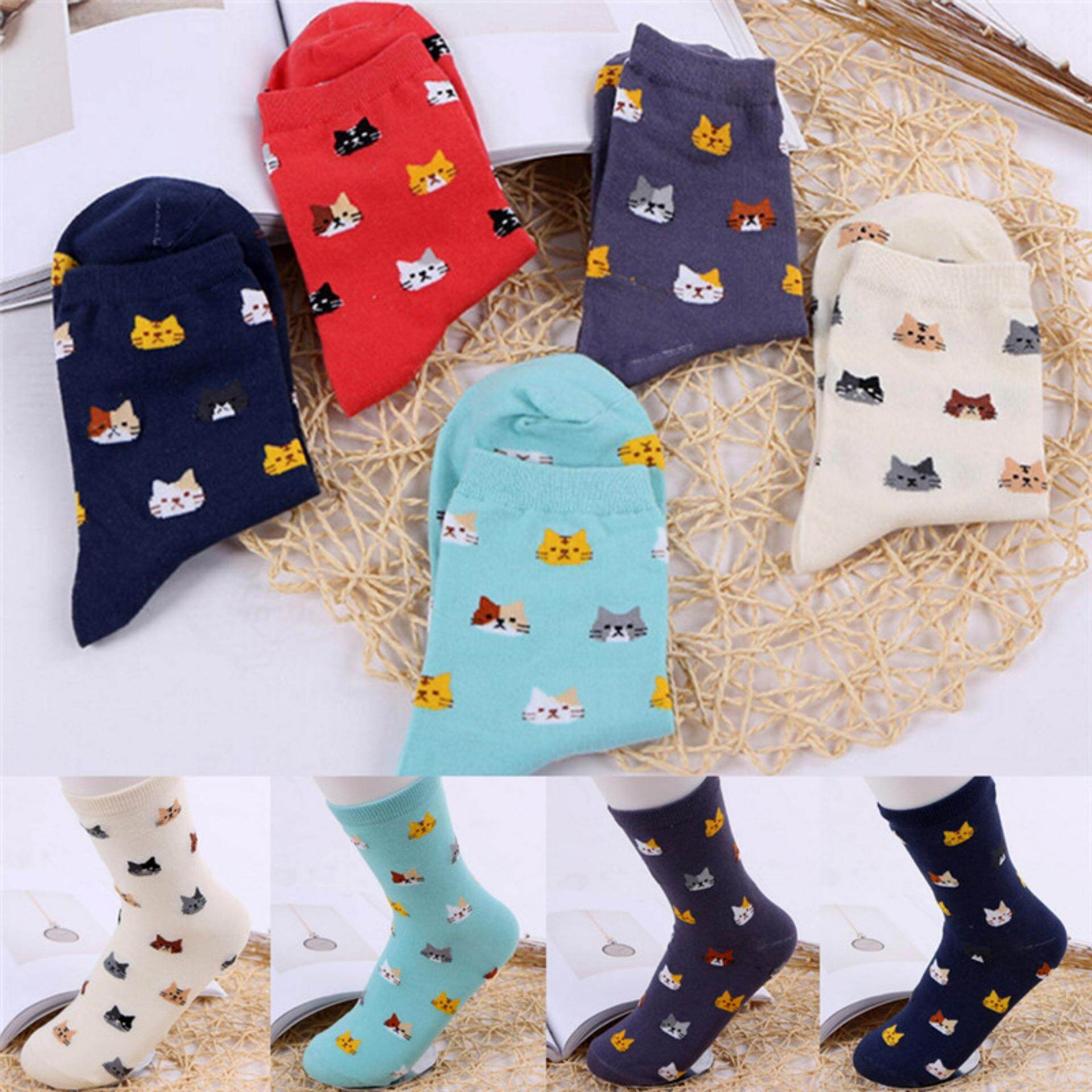 Giá bán Soft Womens Cartoon Stocking Cat Footprints Striped Lovely Style Girls Cotton Socks - intl