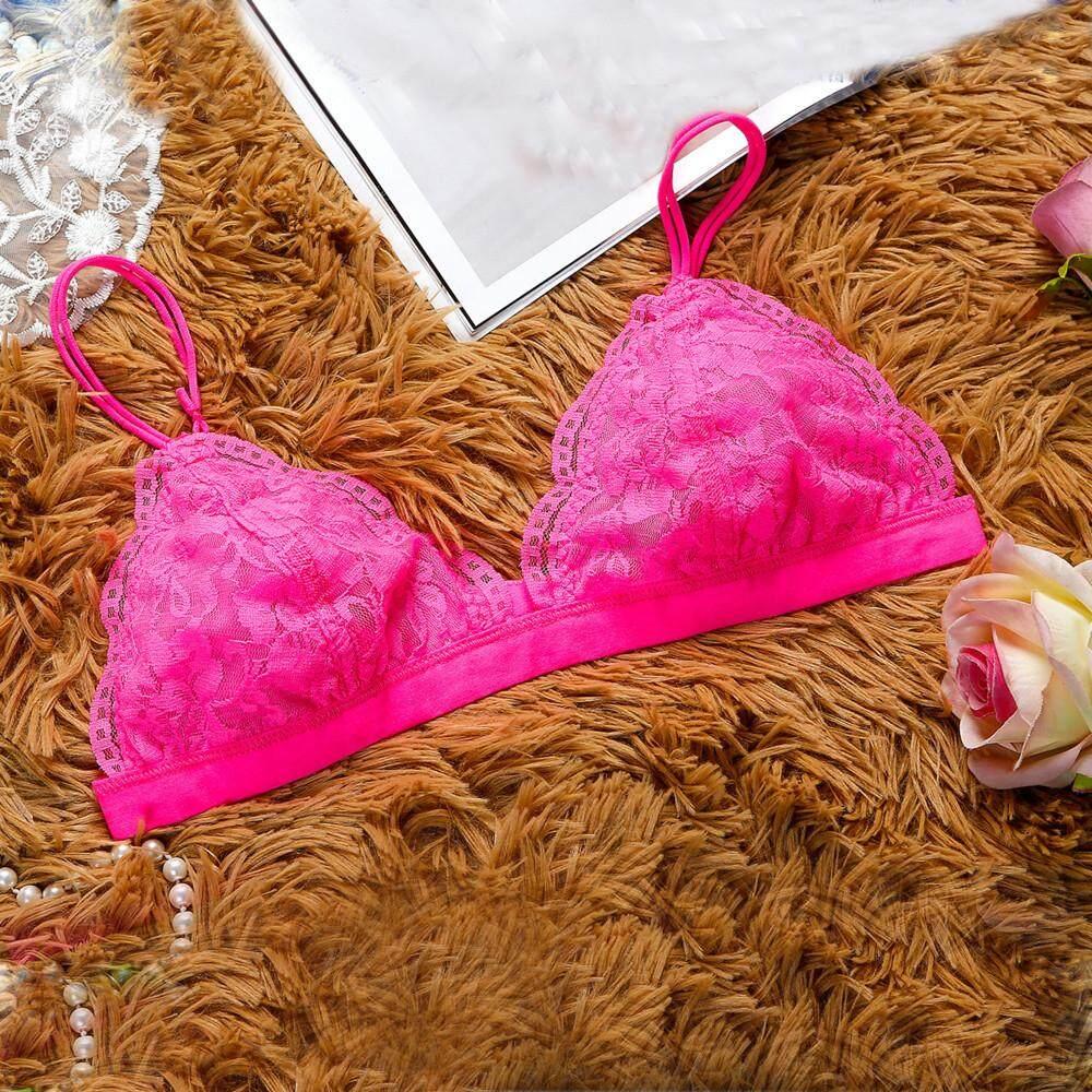be06da4087 Women Floral Sheer Lace Triangle Bralette Bra Crop Top Lingerie Mesh lining