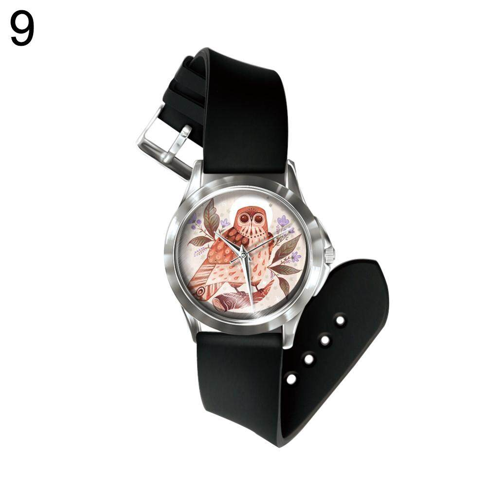 Sanwood® Girl Boy Cartoon Owl Watch Analog Display Faux Leather Quartz Wrist Watch (9#) Malaysia