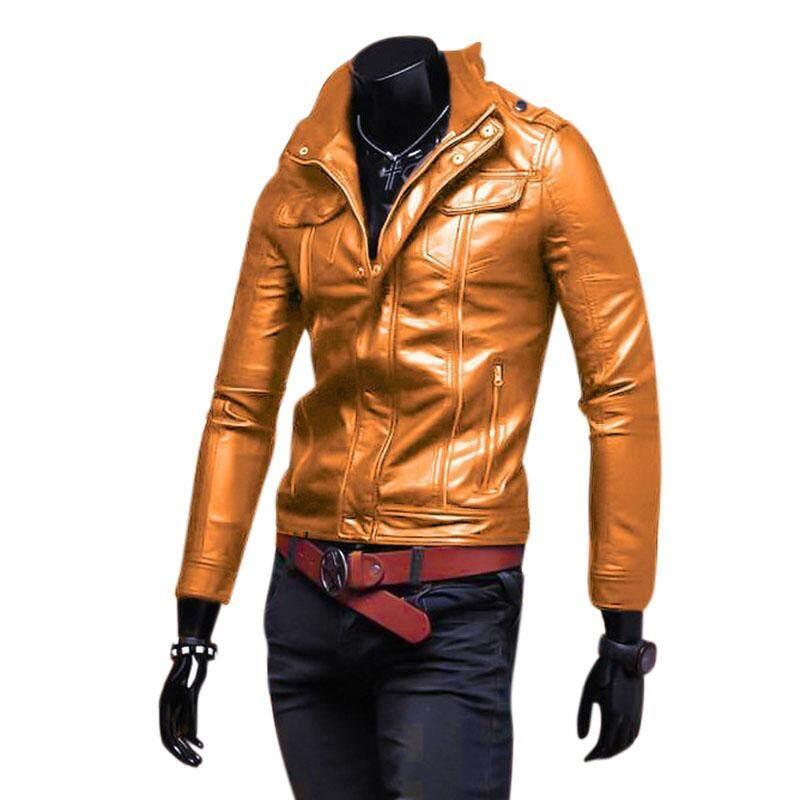 Men Leather Jacket Zipper Cool Motorcycle Biker Pu Coat Slim Fit