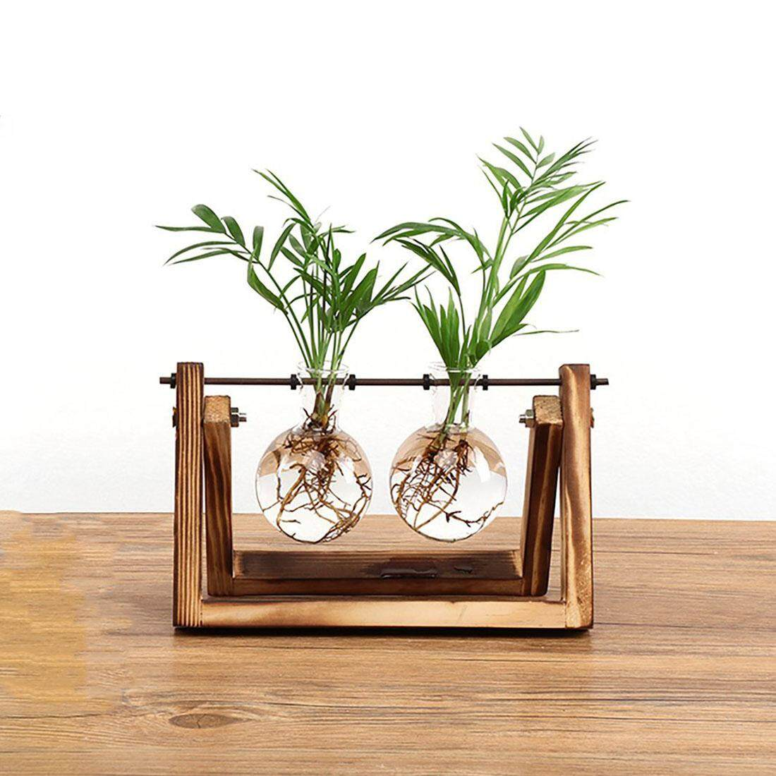Creative Bulb Vase Plant Glass Hydroponic Container Farm Decoration Wooden Flowerpot Home Decorations - Intl By Sunnny2015.