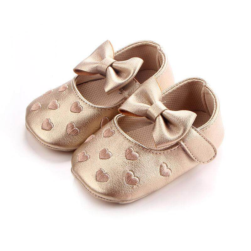 de59d23495717 Big bow embroidery love pu leather baby girl shoes non-slip soft soled  footwear for