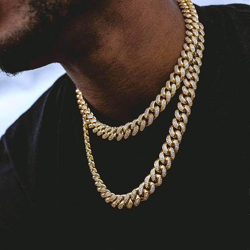 Bzy Men Simulated Diamonds Necklace Cuban Chains Necklace Male Alloy Gold Plated Accessory