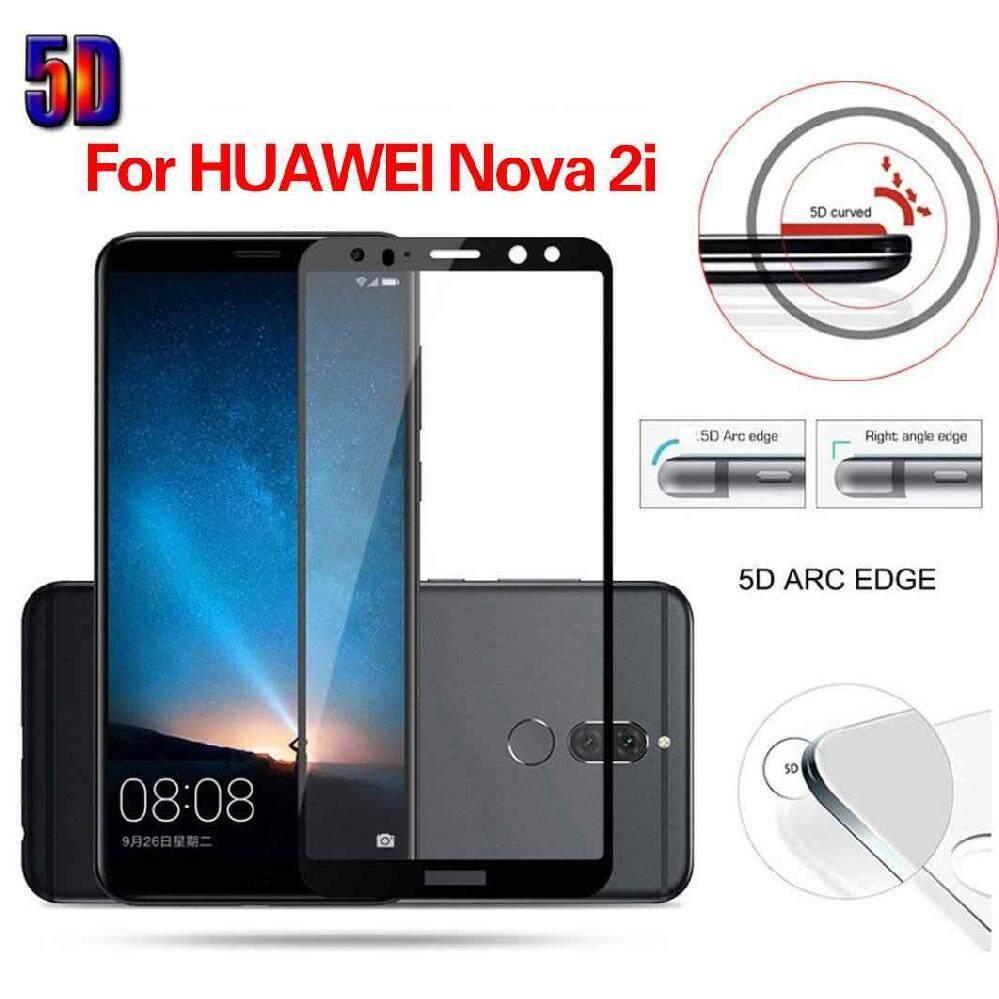 Ailsen 5D Melengkung Anti-Shock Kaca Anti Gores Penuh Pelindung Layar untuk Huawei Nova 2i