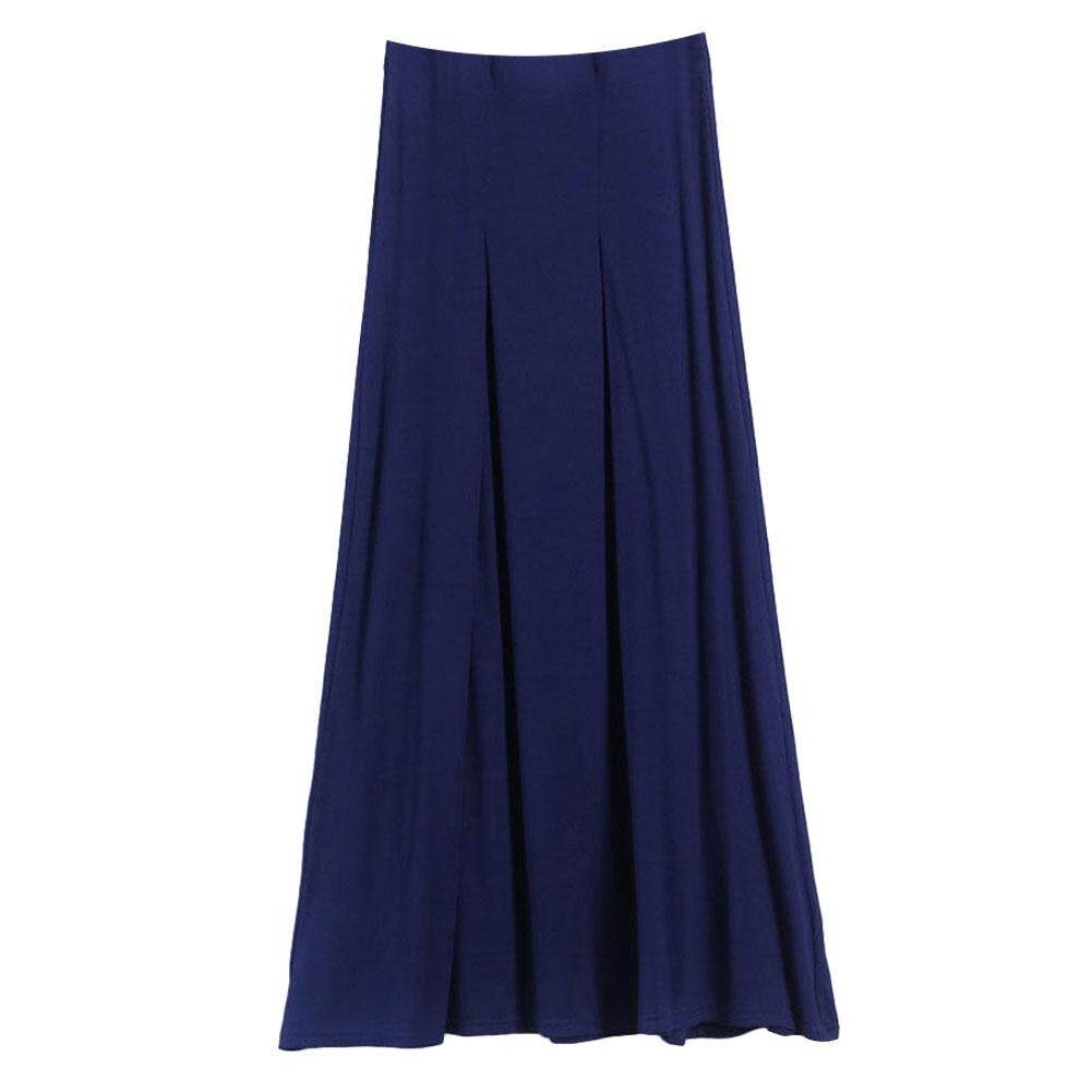 b653fd8cf Women Solid Plus Size A-line Dress Modal Long Casual Pleated Skirts - intl