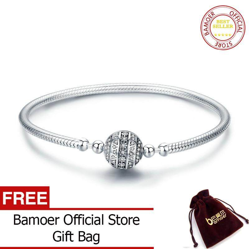 Bamoer Free Shpping Authentic 100% 925 Sterling Silver Dazzling Clear Cz Round Clasp Snake Chain Bracelet Sterling Silver Jewelry Scb062.