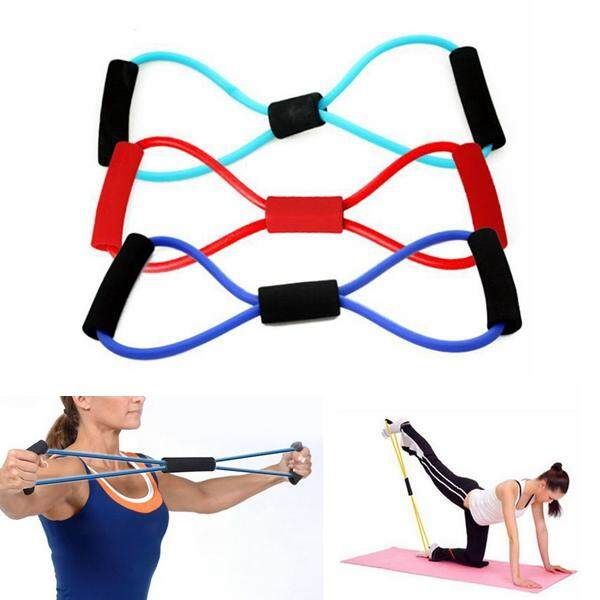 Yoga 8 Type Resistance Band Tube Body Building Fitness Exercise Tool By Glimmer.