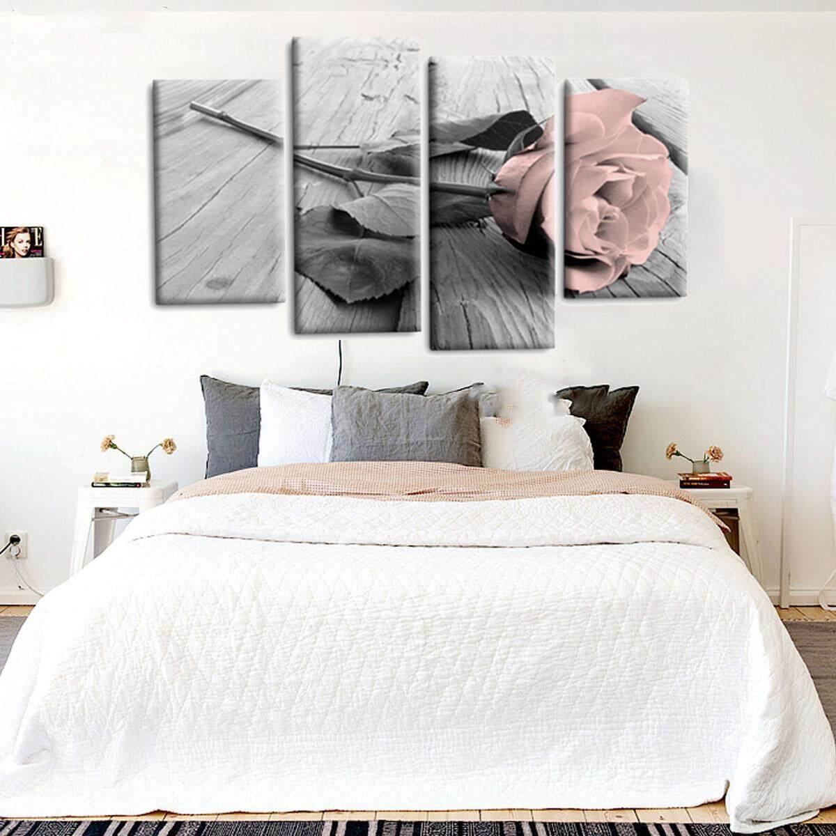 ... 4 Pcs Bunga Mawar Lukisan Kanvas Pemandangan Seni Dinding Cetak Gambar Dekorasi Tanpa Bingkai-Internasional