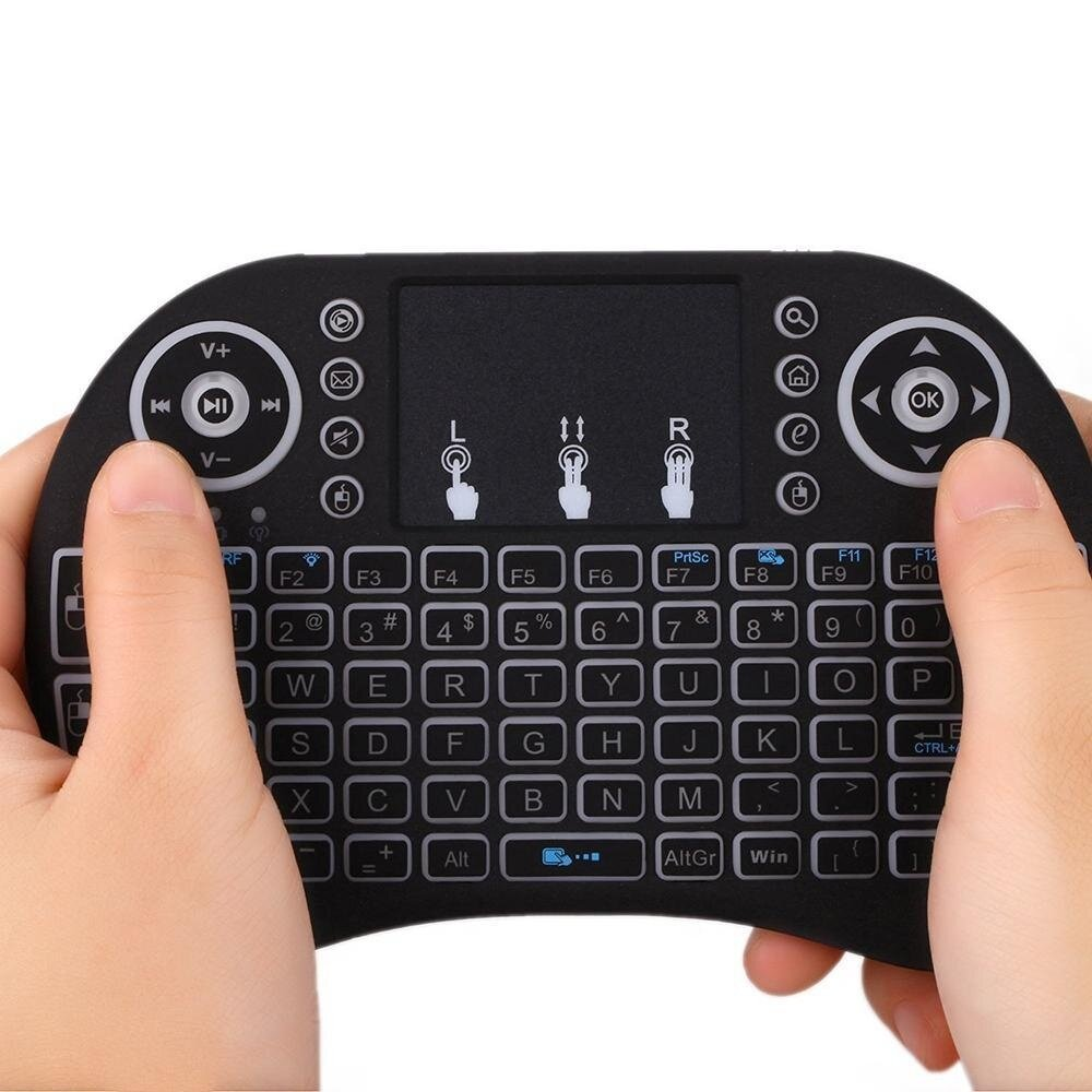 (FREE KEYBOARD BATTERY) WJS I8 Mini 2 4Ghz Wireless Touchpad Keyboard With  Mouse For Pc, Tablets, Xbox, Playstation, Google Android Tv Box, Htpc, Iptv