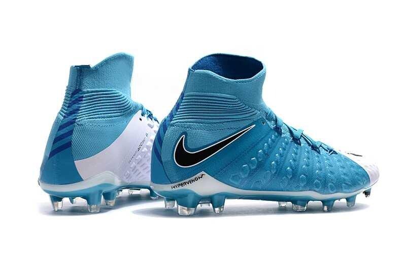 sports shoes 90085 a25fb Original Men's Soccer Shoes Hypervenom Phantom III DF FG High Top Football  Boots Hypervenomx Phantom 3 Cleats Blue White