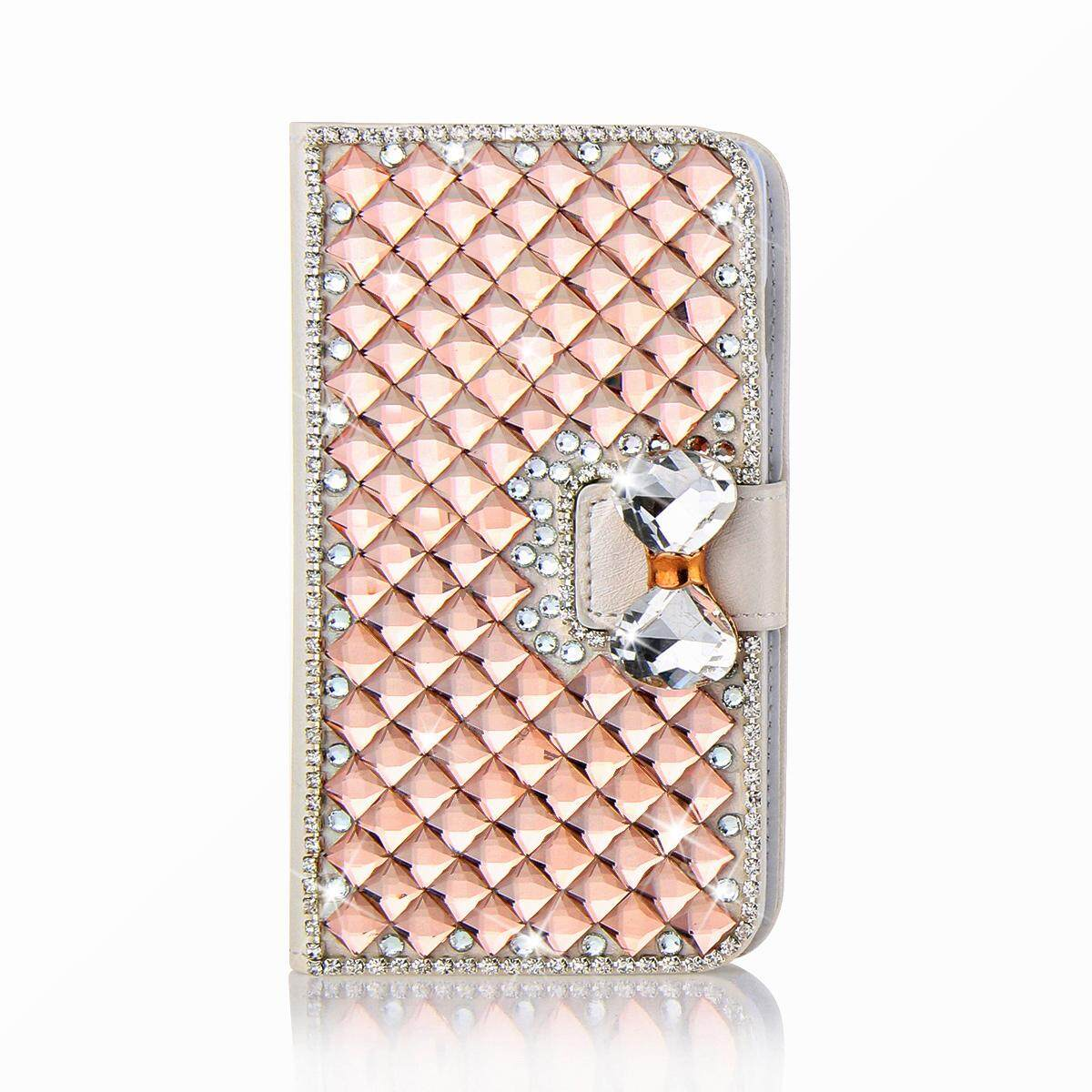 Moonmini Case for 3D Luxury Bling Rhinestones Diamonds Bow Bone PU Leather Flip Case Cover Wallet with Card Holders for LG K20 Plus / LG LV5 - intl