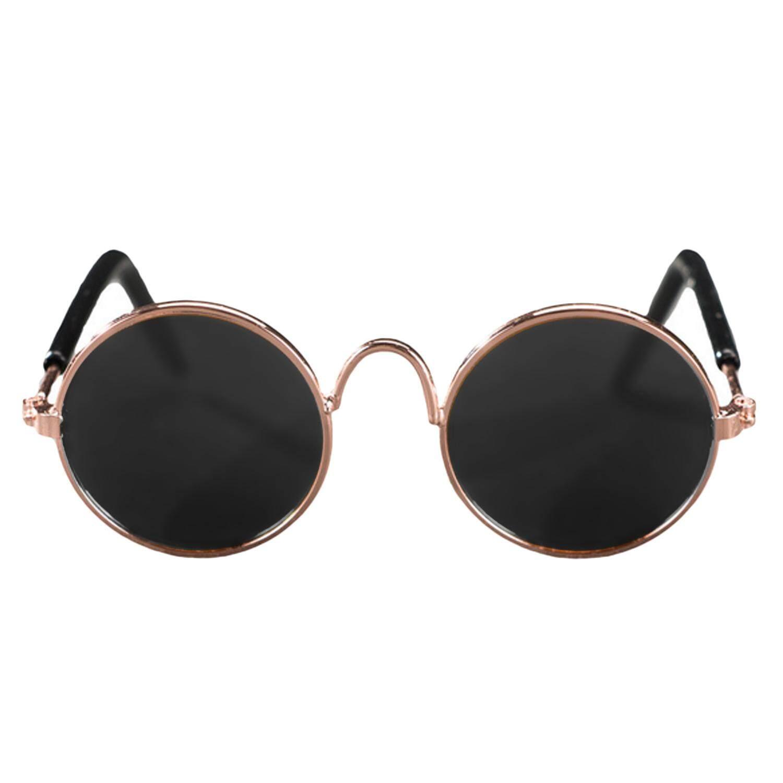 Lucu Lucu Peliharaan Kacamata Hitam Klasik Retro Bundar Logam Kacamata Hitam untuk Kucing Kecil Anjing Peliharaan Foto Alat Peraga-Internasional