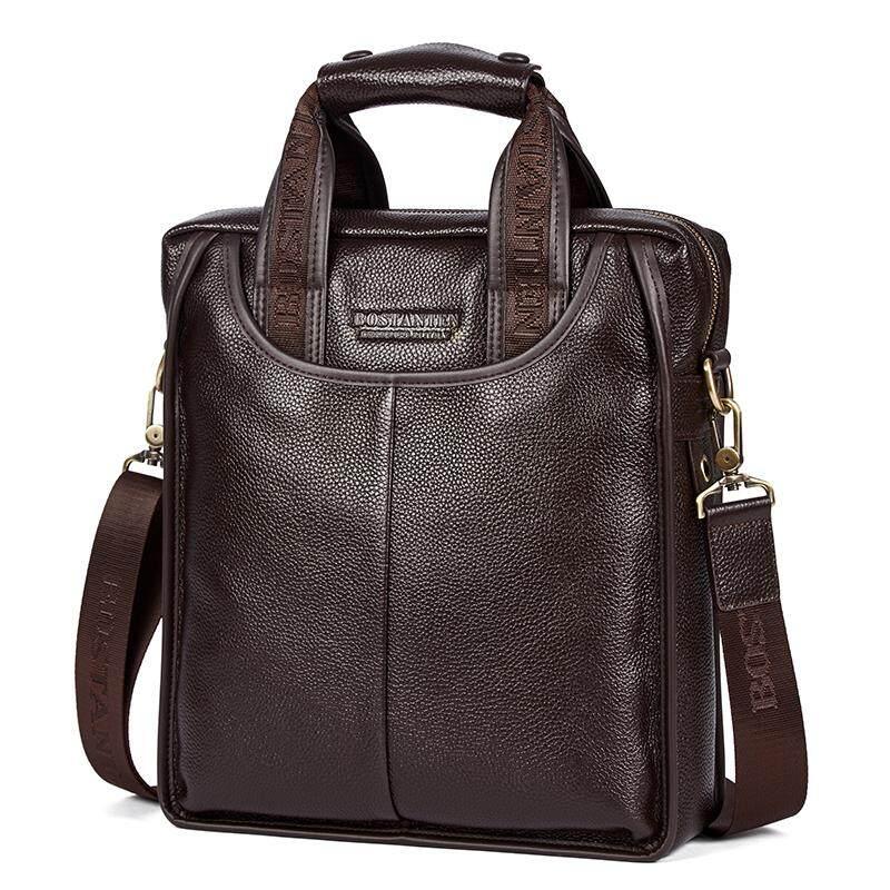 4816bc01d683 Bostanten Men s Genuine Cowhide Leather Handbag Business Shoulder Bag  Black(buy 1 get 1 freebie
