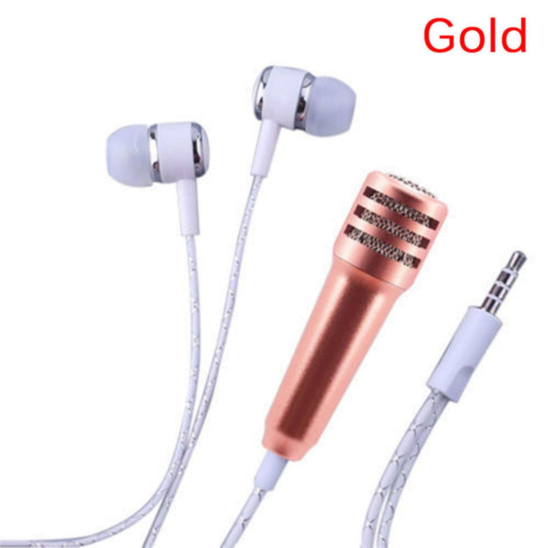 Mini Microphone Smule Karaoke Mic For Android Ios Pc Pinksilver Dengan Headset Jack 35 With Earphone Mobile Phone Tablet Gold