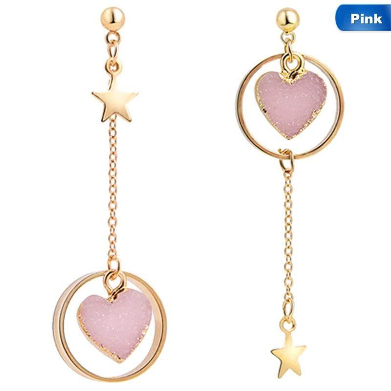Bzy Korea Perhiasan Fashion Berwarna-warni Batu Cinta Hati Anting-Anting Perempuan Adaptor OBD