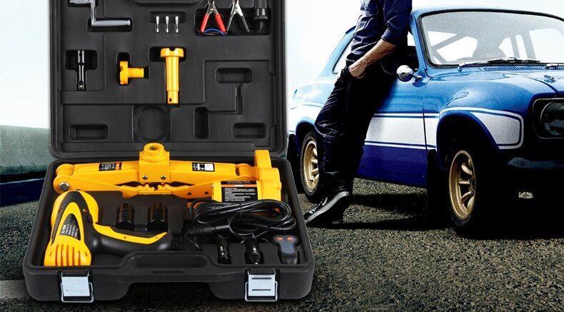 12V Electric Car Jack Electric Wrench Set General SUV On-board Horizontal  Shear Type Tools