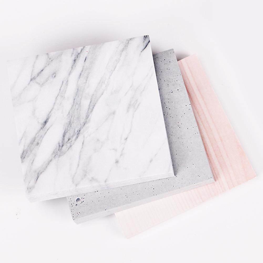 3 Pcs Kreatif Warna Marmer Diri Perekat Buku Memo Gaya Batu Catatan Tempel Ini Bookmark Sekolah