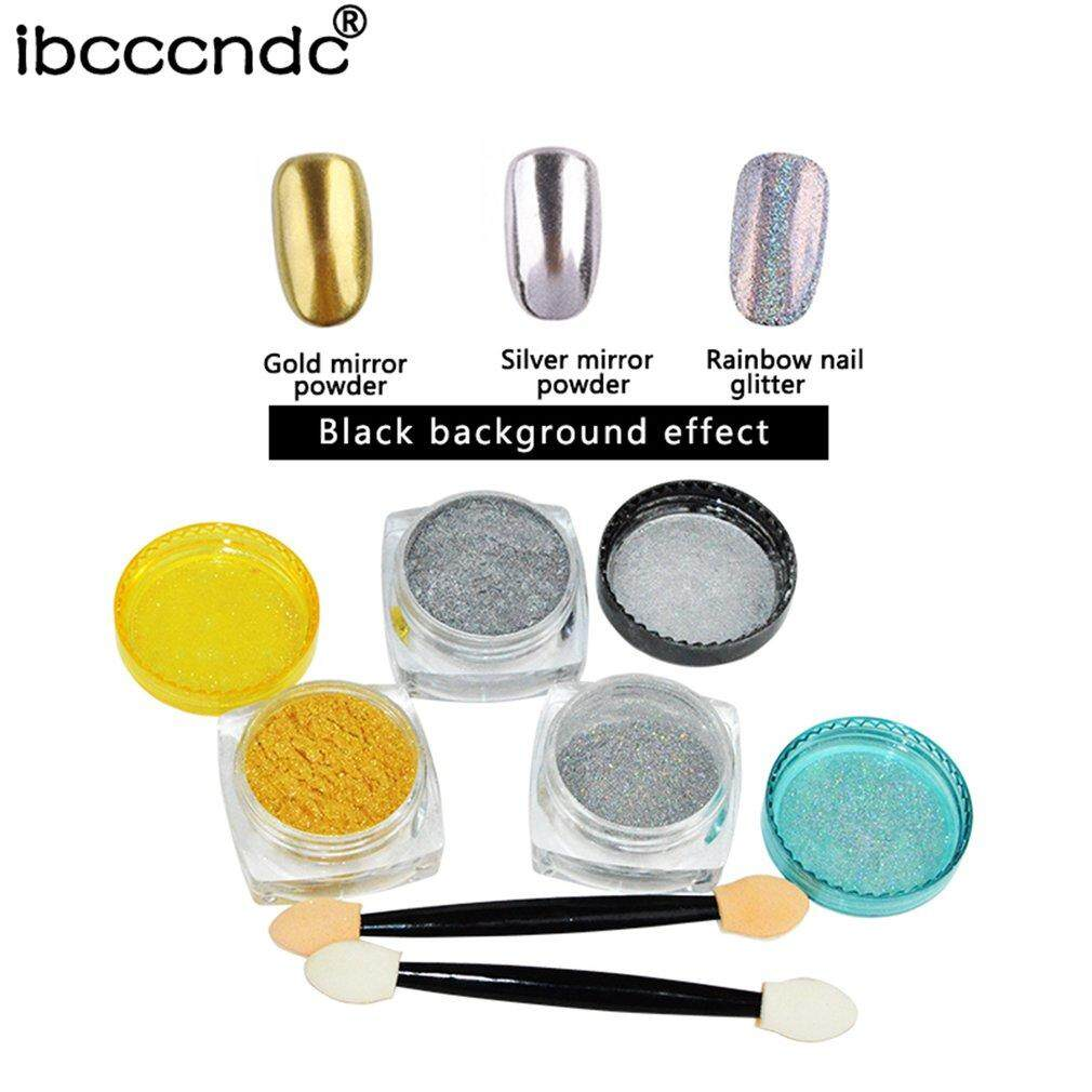 Chunnuan Ibcccndc 1 G/box Sliver/Kuku Emas Bubuk Glitter Shinning Bubuk Kuku Berkilau