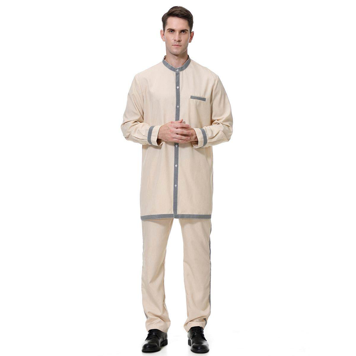 Pria Lengan Panjang Tiruan Leher Solid Pakaian Salwar Dubai Set Jubah Muslim Jubah Pria Suit