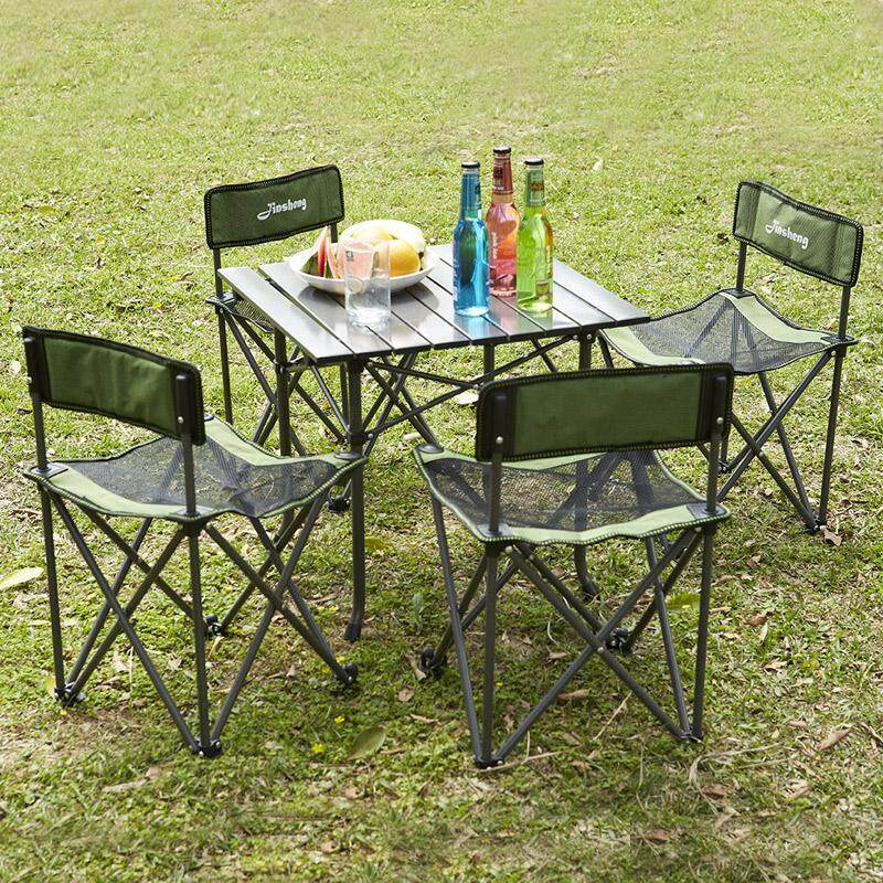 MWT1 Outdoor Folding Tables And Chairs Combination Portable Five Pieces Set Barbecue Self-driving Travel Leisure Beach Table And Chair Set
