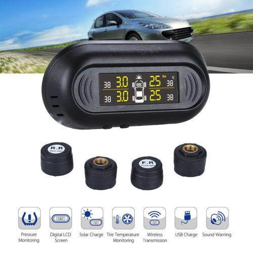 Solar Power Car Auto Tpms Tire Pressure Lcd Monitor System Wireless + 4 Sensors By Audew.