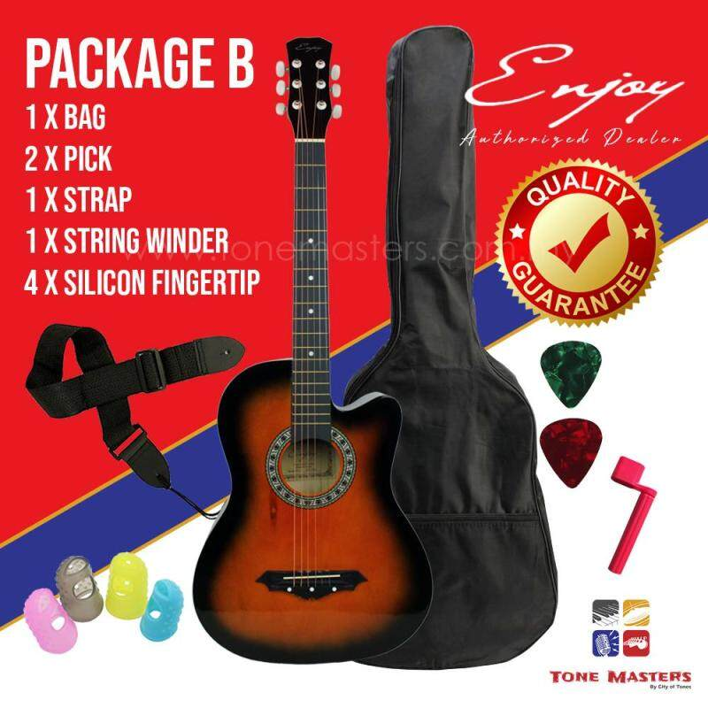 Enjoy JC-38C Acoustic Guitar Package, Vintage Sunburst, Package B Malaysia