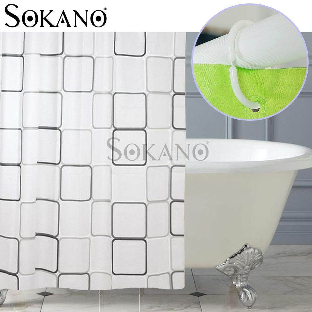 SOKANO CT021 Stylish Living Elegant 100% PEVA Bathroom Shower Curtain (180x200cm) - White Square