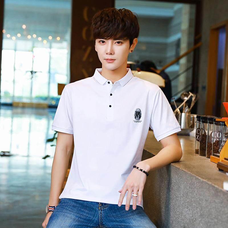 WOEMEN SHOP Short Sleeved T shirt Male Teenage Summer Slim Cotton Shirt Collar Polo Shirt Half Sleeved Jacket - intl