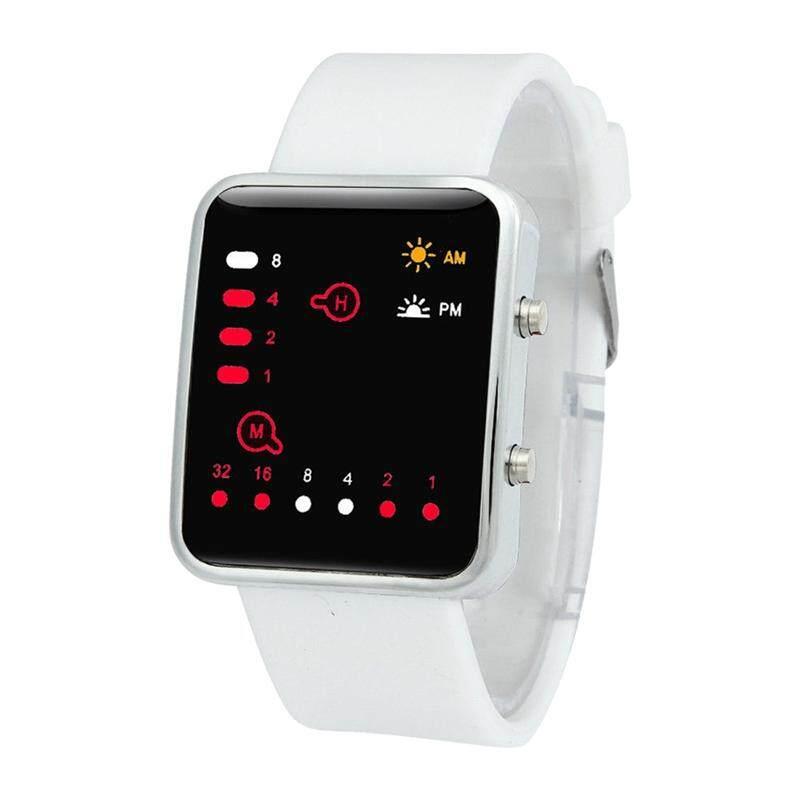 Silikon Semua Jenis Kelamin Jam Olahraga LED Merah Digital Biner Pergelangan Tangan Olahraga Item Warna: