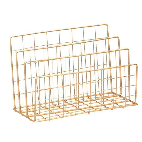 Nordic Style Grid Wrought Iron Newspapers And Periodicals Rack Book Magazine File Desktop Storage Rack (Gold)