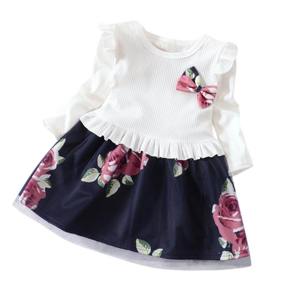 5ab60574d HiQueen Children Girls Cotton Dress Fashionable Floral Long Sleeve Gauze Dress  for Kids