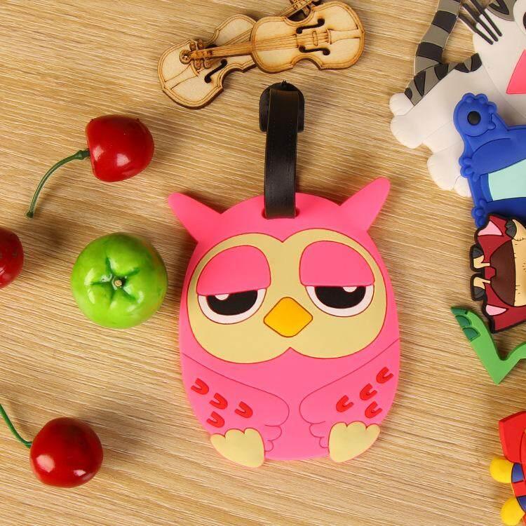 Cute Pink Owl Luggage Tag