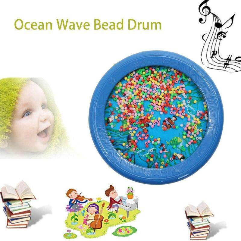 BELLE Fashionable LYH18P Ocean Wave Bead Drum Sea Sound Educational Toys for Gift blue