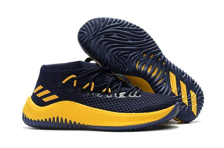 Adidas Resmi Damian Lillard DAME 4 Low Top Penjualan Global Pria Basketaball Sepatu (Biru Laut Biru Kuning)