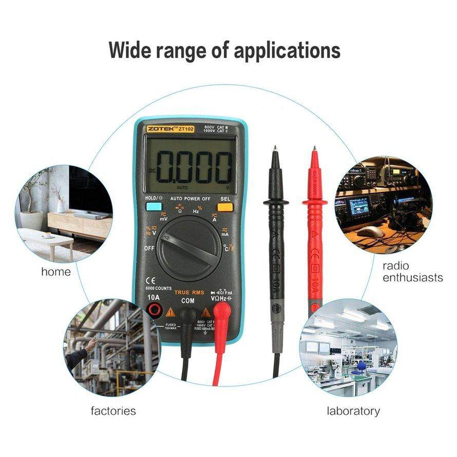 Detail Gambar OSMAN ZOTEK ZT102 Mini 6000 Counts Digital Multimeter AC/DC Voltage Current Tester Gray+Blue 3Pcs Free Shipping Terbaru