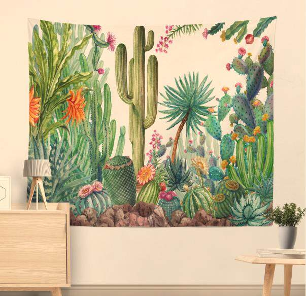 Shanyu Cactus Pattern Hanging Wall Landscape Wallpaper Tapestry Art Decoration(150*130cm) By Shanyustore.