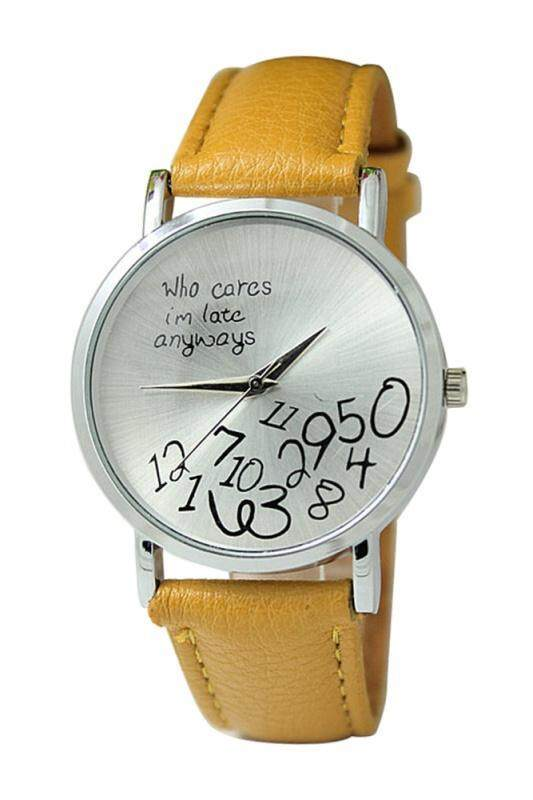 Arab numerals Leatherlet watches Quartz Analogue, Rosa, Unisex Watches,Ginger Yellow Malaysia