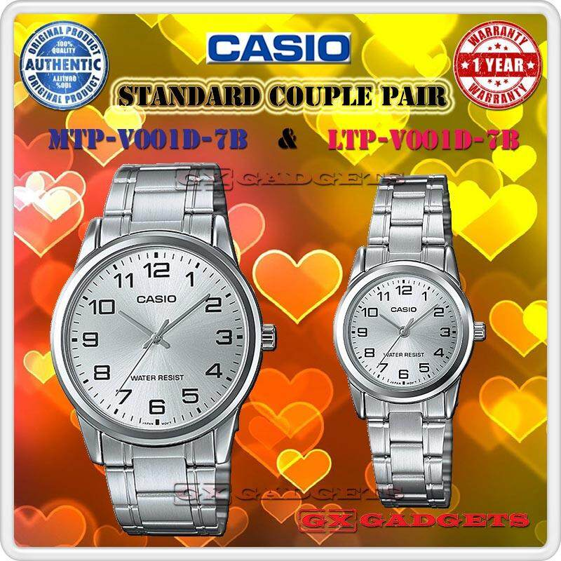 CASIO MTP-V001D-7B + LTP-V001D-7B STANDARD Analog Couple Pair Watch Stainless Steel Band Water Resistant MTP-V001 LTP-V001 V001 Series Malaysia