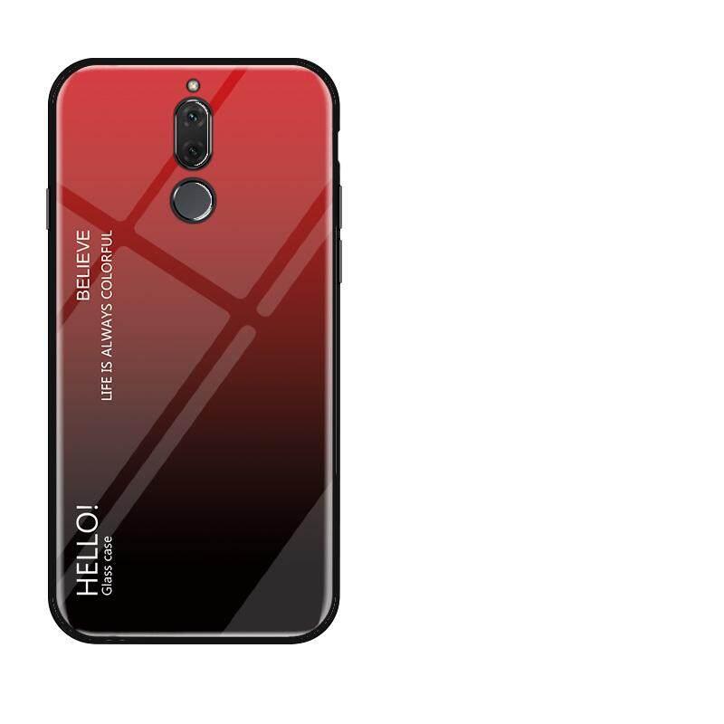 Untuk Huawei Nova 2i Gradien Warna Kaca Antigores Casing Kaca Penutup Belakang Lembut TPU Bumper Case