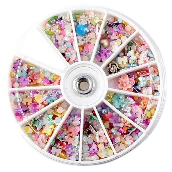 1200 Pcs Roda Campuran 3D DIY Kuku Glitter Berlian Berkilau Tips Seni Dekorasi-Internasional