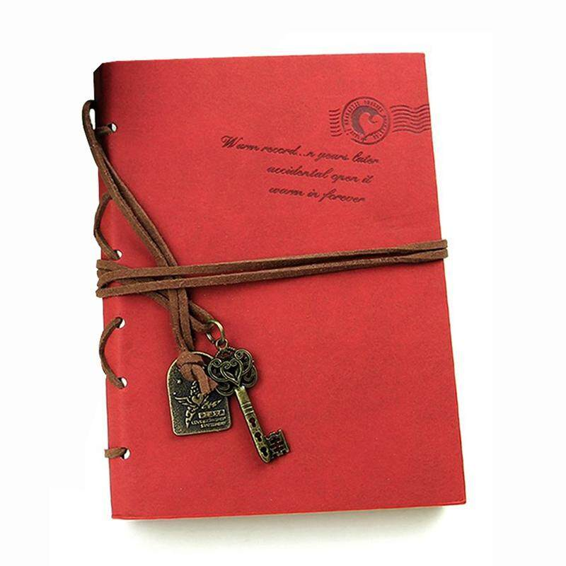 Classic Retro  Leather Bound Blank Pages Journal Diary Notepad Notebook Red 143*105*20mm.
