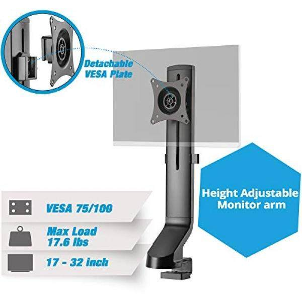 AVLT-Power Single Monitor Mount for Standing Desk Workstation - Extra Height Adjustment Range - Heavy Duty - Holds 17 to 32 Screens, up to 17.6 lbs, VESA 75x75mm 100x100mm