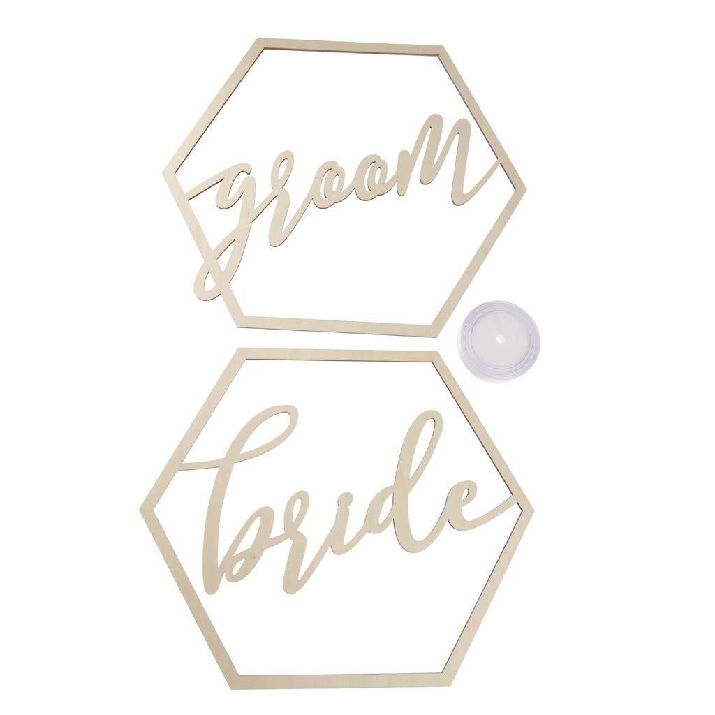 BolehDeals 2pcs Hexagon Geometric Bride Groom Wooden Chair Banner Sign Wedding Party Decoration Photography Kits