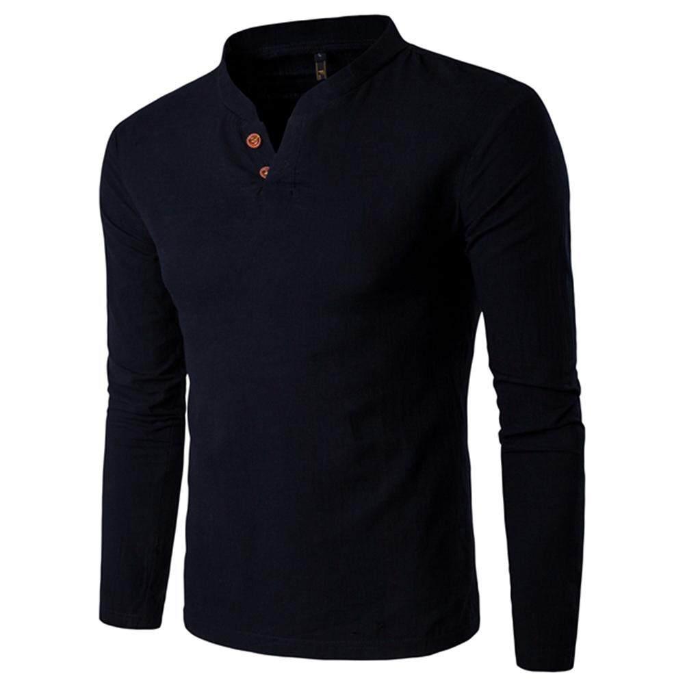 Buy Men Shirts Cotton Slim Fit Tendencies Tshirt Beach Kid Hitam Xl Casual Stand Collar Long Sleeve Two Buttons Shirt Intl