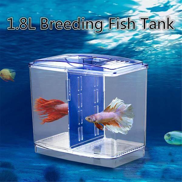 Mini Clear Betta Fish Tank Nhựa Sinh Sản Văn Phòng Trang Chủ Máy Tính Để Bàn Trang Trí-