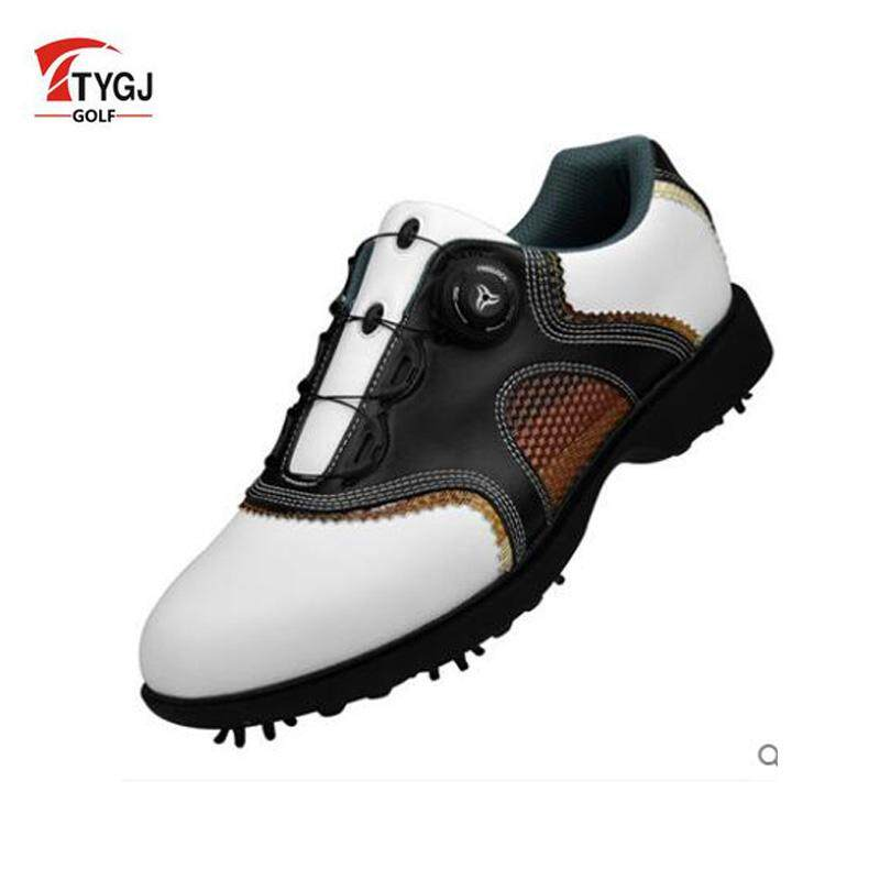 new concept 079c9 eb4ee Men s golf shoes Leather for Men slip resistant Sports Max shoes Revolving  shoe lace movable nail