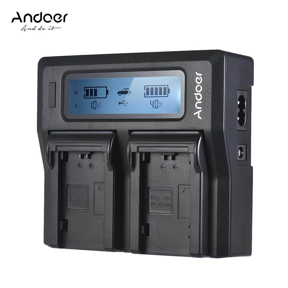 Andoer NP-FZ100 Dual Channel LCD Camera Battery Charger for Sony A7III A9 A7RIII A7SIII UK Plug
